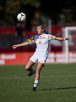 Olivia Wagner (11) of Maryland keeps an eye on the ball during the game at Ludwing Field in College Park, MD.  Florida State defeated Maryland, 1-0.