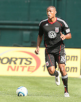 Jordan Graye #16 of D.C. United moves the ball up field during an MLS match against the New York Red Bulls on May 1 2010, at RFK Stadium in Washington D.C.