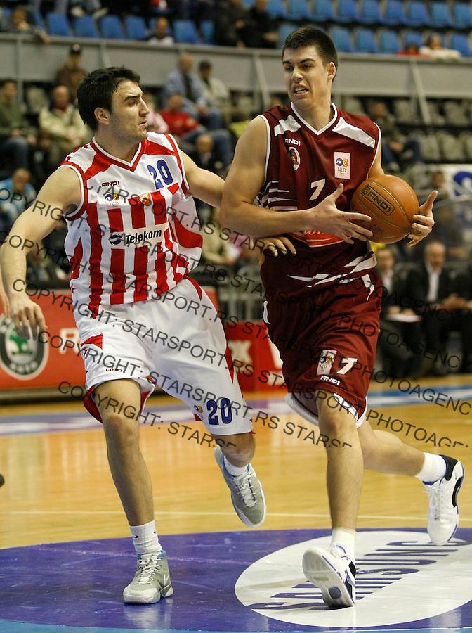 Kosarka, NLB Liga-Regionalna, sezona 2007/08.Crvena Zvezda Vs.FMP (Zeleznik).Zoran Erceg, right and Tadija Dragicevic.Beograd, 02.03.2008..foto: Srdjan Stevanovic