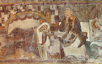 Nativity scene, Mary lying next to Joseph and Jesus on the right lying in a bed, detail of the 12th century frescoes in the choir of the Pre-Romanesque Chapel of Saint Martin de Fenollar (Sant Marti de Fenollar), 9th century, Maureillas Les Illas, Pyrenees Orientales, France. The frescoes are an outstanding piece of work, which greatly impressed modern artists, especially Pablo Picasso and Georges Braque in 1910. Picture by Manuel Cohen