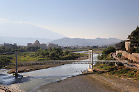 Bridge over the Osum river in Berat, South-Central Albania, capital of the District of Berat and the County of Berat. In July 2008, the old town (Mangalem district) was listed as a UNESCO World Heritage Site. Picture by Manuel Cohen