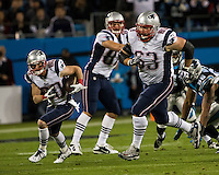 The Carolina Panthers play the New England Patriots at Bank of America Stadium in Charlotte North Carolina on Monday Night Football.  The Panthers defeated the Patriots 24-20.  New England Patriots wide receiver Danny Amendola (80), New England Patriots guard Dan Connolly (63)