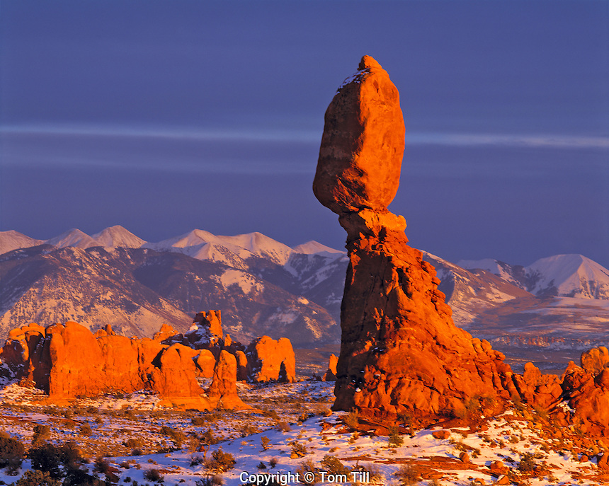 Balanced Rock and La Sal Mountains in Snow, Arches National Park, Utah