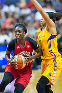 Washington, DC - July 22, 2016: Washington Mystics forward Kahleah Copper (2) goes to the basket against Los Angeles Sparks forward Candace Parker (3) during match up at the Verizon Center in Washington, DC. (Photo by Phil Peters/Media Images International)