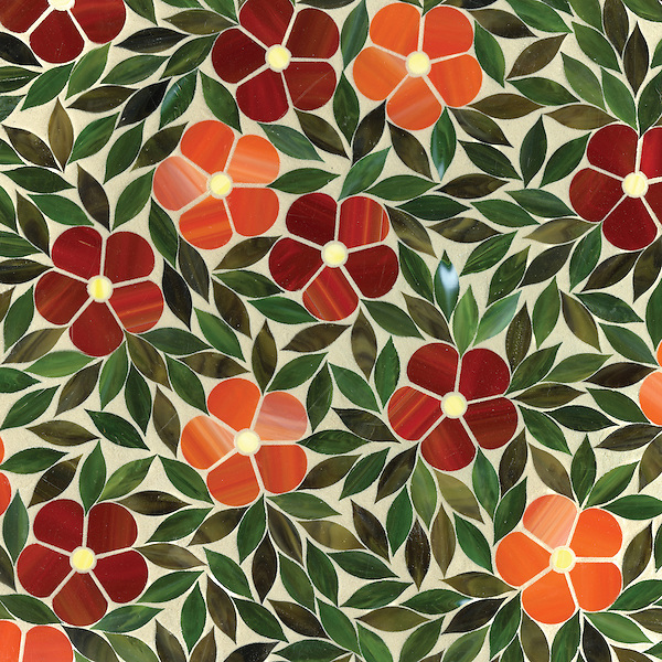 Jacqueline, a jewel glass waterjet mosaic shown in Ruby, Sardonyx, Citrine, Olivine and Malachite, is part of the Silk Road Collection by Sara Baldwin for New Ravenna Mosaics.