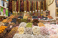 Traditional sweetmeats Turkish Delight, Lokum, dates, nuts in Misir Carsisi Egyptian Bazaar food and spice market, Istanbul, Turkey