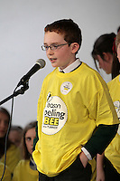 NO FEE PICTURES.8/3/12 Luke Kilmartin, St Patricks BHS, Blackrock, taking part in the Dublin County final, part of the overall Eason 2012 Spelling Bee, held at St Olaf's NS, Dundrum. .For further details visit www.easons.com/spellingbee and stay tuned to RTE 2fm. Picture:Arthur Carron/Collins