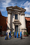 Photo of nuns walking in the neighborhood of Trastavere in Rome, Italy.