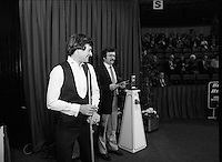 "The Benson and Hedges .Irish Masters Snooker..1984..28.03.1984..03.28.1984..28th March 1984..The championship was held at Goffs,Co Kildare. All the top names in snooker took part..Steve Davis,Jimmy White,Eddie Charlton,.Tony Knowles,Dennis Taylor,Tony Meo,.Alex Higgins,Ray Reardon,.Cliff Thorburn,Terry Griffiths,.Bill Werbeniuk and Eugene Hughes..The eventual winner was Steve Davis who beat Terry Griffiths 9 -1 in the final..In the second match of the night, fans favourite, Alex ""Hurricane' Higgins is introduced to the crowd"
