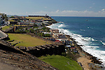USA, Puerto Rico, San Juan. View from San Cristobal Fort overlooking the coast of Puerto Ricp.
