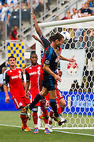 Jack McInerney (9) of the Philadelphia Union heads the ball just wide of the net. The Philadelphia Union defeated Toronto FC 3-0 during a Major League Soccer (MLS) match at PPL Park in Chester, PA, on July 8, 2012.