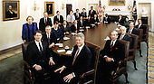 Official photo of United States President Bill Clinton's Cabinet taken in the Cabinet Room of the White House in Washington, DC on January 11, 1994.  Seated from left to right: President Clinton, Secretary of State Warren Christopher, Secretary of Defense Les Aspin, Secretary of Interior Bruce Babbitt, Secretary of Commerce Ron Brown, Secretary of Health and Human Services Donna Shalala, Secretary of Transportation Federico Pena, Secretary of Veterans Affairs Jesse Brown, Secretary of Education Richard Riley, Secretary of Energy Hazel O'Leary, Secretary of Housing and Urban Development Henry Cisneros, Secretary of Labor Robert Reich, Secretary of Agriculture Mike Espy, Attorney General Janet Reno, Secretary of Treasury Lloyd Bentsen, and Vice President Al Gore.  Standing, from front to back: United Nations Ambassador Madeleine Albright, White House Chief of Staff Thomas &quot;Mack&quot; McLarty, US Trade Representative Mickey Kantor, Council of Economic Advisors Chair Laura D'Andrea Tyson, Director of the Office of Management and Budget Leon Panetta, Director of the Environmental Protection Agency Carol Browner, and Director of the Office of National Drug Control Policy Lee Brown.<br /> Credit: White House via CNP