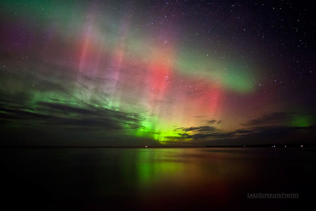 Ribbon candy auroras, over Lake Superior
