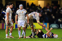 Mitch Lees of Exeter Chiefs extends an arm to Dave Attwood of Bath Rugby after the final whistle. Aviva Premiership match, between Bath Rugby and Exeter Chiefs on December 31, 2016 at the Recreation Ground in Bath, England. Photo by: Patrick Khachfe / Onside Images
