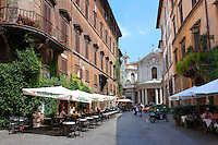 Cobbled streets and cafes of the Piazza Navona region of  Rome