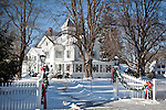 Inn decorated for Christmas in Centerville village, Barnstable, Cape Cod, MA, USA