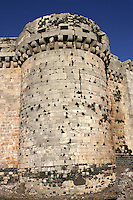 One of 7 guard towers, 8-10 metres thick, Krak des Chevaliers, Qala'at al-Husn, largest Crusader castle in the Levant, 1110-1271, Homs Gap, Syria Picture by Manuel Cohen