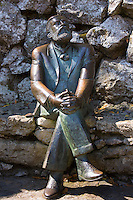 Bronze statue of famous architect Antoni Gaudi 1852 to 1926 at El Capricho de Gaudi at Comillas in Cantabria, Spain