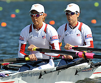 Hamilton, NEW ZEALAND. USA LW2X. Bow, Ursula GROBLER and Abelyn BROUGHTON, move away from the start in their heat of the lightweight women's double sculls.   2010 World Rowing Championships on Lake Karapiro Saturday  30/10/2010. [Mandatory Credit Peter Spurrier:Intersport Images].
