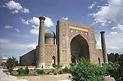The Sher Dor Medressa, once an important Islamic studies teaching school on the OLd Silk Road, now a tourist attraction in Registan Square, Samarkand, Uzbekistan