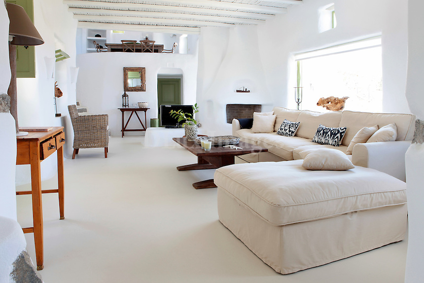 traditional cycladic living room with mezzanine