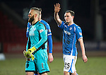 St Johnstone v Inverness Caley Thistle&hellip;09.03.16  SPFL McDiarmid Park, Perth<br />Goalscorer Chris Kane waves to the crowd at full time<br />Picture by Graeme Hart.<br />Copyright Perthshire Picture Agency<br />Tel: 01738 623350  Mobile: 07990 594431