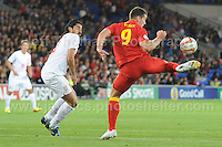 Sam Vokes of Wales controls a difficult pass during the Wales v Serbia FIFA World Cup 2014 Qualifier match at Cardiff City Stadium, Cardiff, Wales -Tuesday 10th Sept 2014. All images are the copyright of Jeff Thomas Photography-07837 386244-www.jaypics.photoshelter.com