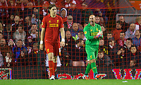 LIVERPOOL, ENGLAND - Thursday, October 4, 2012: Liverpool's goalkeeper Jose Reina looks dejected as Udinese Calcio score the first equalising goal during the UEFA Europa League Group A match at Anfield. (Pic by David Rawcliffe/Propaganda)
