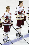 Kelli Stack (BC - 16), Katelyn Kurth (BC - 14) - The Boston College Eagles defeated the Boston University Terriers 2-1 in the opening round of the Beanpot on Tuesday, February 8, 2011, at Conte Forum in Chestnut Hill, Massachusetts.