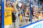 07 APR 2012:  Boston College fans celebrate their teams victory against Ferris State University during the Division I Men's Ice Hockey Championship held at the Tampa Bay Times Forum in Tampa, FL.  Boston College defeated Ferris State 4-1 to win the national title.  Matt Marriott/NCAA Photos