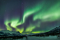 Aurora borealis over the Brooks range mountains and the James Dalton Highway, arctic, Alaska.