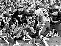 Oakland Raider QB Dan Pastorini was injured on this play, Oct 5,1980.against Kansas City Chiefs.<br />