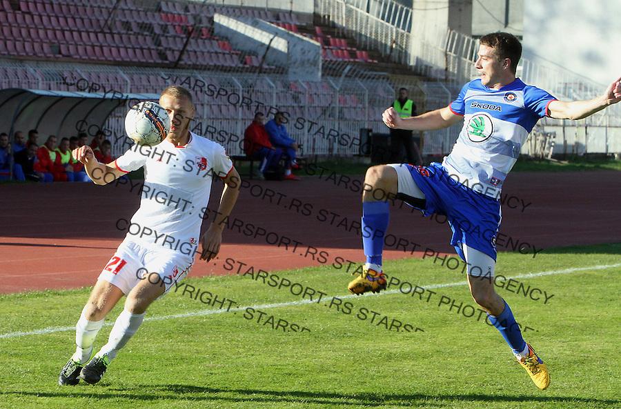 Fudbal Super liga season 2015-2016<br /> Radnicki (Nis) v Borac<br /> Radnicki Sasa Marjanovic, Borac Dusan Jovancic<br /> Nis, 1.11.2015.<br /> foto: Sasa Djordjevic/Starsportphoto &copy;