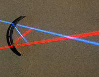 REFLECTION OF RED &amp; BLUE LIGHT OFF CONCAVE MIRROR<br />