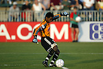 19 June 2003: Briana Scurry of the Atlanta Beat takes a goal kick in the first half. The WUSA World Stars defeated the WUSA American Stars 3-2 in the WUSA All-Star Game held at SAS Stadium in Cary, NC.