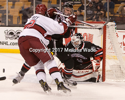Tyler Moy (Harvard - 2), Garrett Cecere (NU - 29), Ryan Ruck (NU - 41) - The Harvard University Crimson defeated the Northeastern University Huskies 4-3 in the opening game of the 2017 Beanpot on Monday, February 6, 2017, at TD Garden in Boston, Massachusetts.