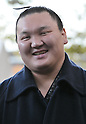 Hakuho, Tokyo, Japan, January 6, 2012 : Mongolian grand sumo champion Yokozuna Hakuho answers reporter's question after the &quot;ring entering ceremony&quot; for dedication at Meiji Shrine, Tokyo, Japan, on January 6, 2012. (Photo by AFLO)