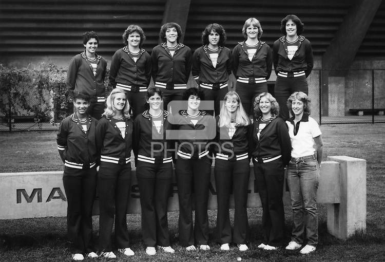 1982-83 Stanford Women's Varsity Basketball Team<br /><br />Bottom Row, left to right: Judy Carter, Leigh Pederson, Sarah Evans, Kim Kupferer, Meg Metzger, Jean Rouark-Hoff, Karen Kershner, mgr.<br /><br />Top Row, left to right: Virginia Sourlis, Noel Hanrahan, Angie Paccione, LeeAnn Margerum, Judy Griffith, Mary Bradach.<br /><br />NOT SHOWN: Head Coach Dotty McCrea, Ass't Coach Mike Kehoe.