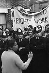 Grunwick Strike North London UK. Mrs Jayaben Desai strike leader on the Picket Line. 1977