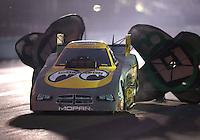 Nov 12, 2016; Pomona, CA, USA; NHRA funny car driver John Hale during qualifying for the Auto Club Finals at Auto Club Raceway at Pomona. Mandatory Credit: Mark J. Rebilas-USA TODAY Sports
