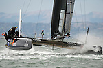 Energy Team finishing the second fleet race of the  America's Cup World Series, San Francisco. 23/8/2012