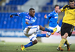 St Johnstone v Livingston.....30.11.13     Scottish Cup 4th Round<br /> Nigel Hasselbaink misses a sitter<br /> Picture by Graeme Hart.<br /> Copyright Perthshire Picture Agency<br /> Tel: 01738 623350  Mobile: 07990 594431