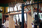 A shrine priest reads sutras during a ritual to bless arrows used in the annual Reitaisai Grand Festival at Tsurugaoka Hachimangu Shrine in Kamakura, Japan on  14 Sept. 2012.  Sept 14 marks the first day of the 3-day Reitaisai festival, which starts early in the morning when shrine priests and officials perform a purification ritual in the ocean during a rite known as hamaorisai and limaxes with a display of yabusame horseback archery. Photographer: Robert Gilhooly
