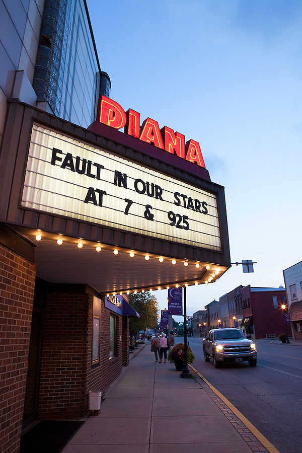 Diana Movie Theater at twilight, Tipton, Indiana, USA