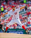 3 April 2017: Washington Nationals starting pitcher Stephen Strasburg in action on Opening Day against the Miami Marlins at Nationals Park in Washington, DC. Strasburg notched his first win of the season as the Nationals defeated the Marlins 4-2 to open the 2017 MLB Season. Mandatory Credit: Ed Wolfstein Photo *** RAW (NEF) Image File Available ***