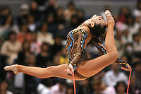 Anna Bessonova of Ukraine split leaps with rope at 2006 Aeon Cup Worldwide Clubs Championships in rhythmic gymnastics on November19, 2006.<br />
