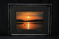 """Paddling into the Sunset"", hand-made oak frame with distressed black finish, conservation grade matting, TruVue Museum Glass. Contact us for availability."