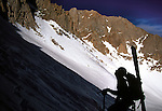Brian Hickey climbs up the mountaineers route 1500 feet below the summit of Mt. Whitney.