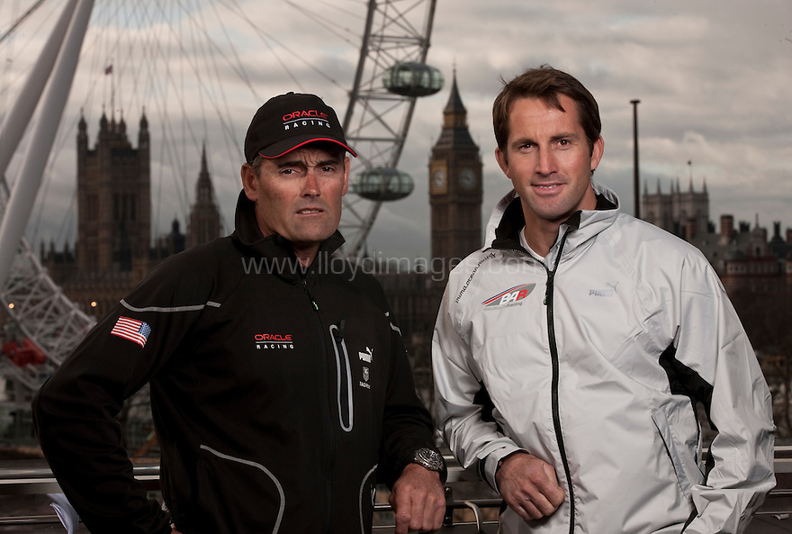 Ben Ainslie, four time Olympic medallist pictured with Russell Coutts, head of Oracle Racing and current holder of the Americas Cup. .Shown here in central London as he launches &quot;Ben Ainslie Racing&quot;. A new team that will compete in 2012 Americas Cup World Series..Credit: Lloyd Images / Ben Ainslie Racing