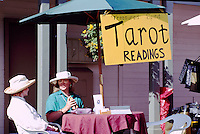 Tarot Readings at the Saturday Market in Ganges, on Saltspring Island, in the Southern Gulf Islands of British Columbia, Canada